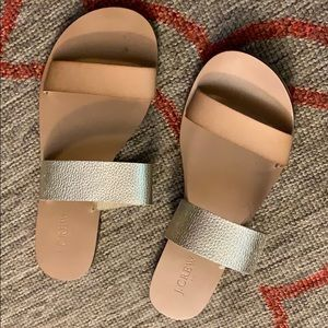 J Crew gold and tan sandals NEW!